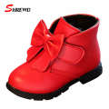 Shoes Boy Kids 2017 New Winter Fashion Solid Color Snow Boots Girls Bow Plus Velvet Warm Children Shoes Insole 15.6-22cm 9532W