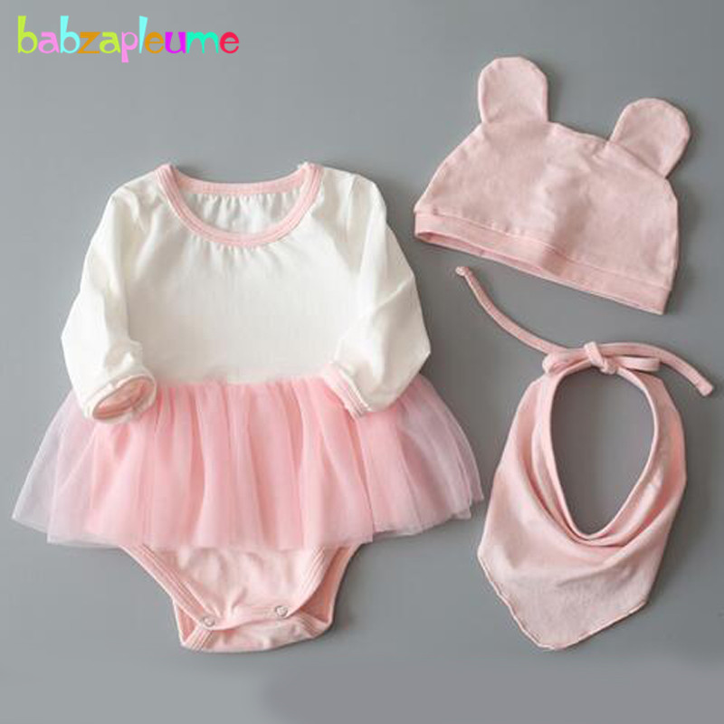 3PCS/0-24Months/Spring Summer Baby Girls Clothes Infant Jumpsuit Cute Pink Blue Rompers+Hats+Bibs Newborn Clothing Sets BC1050