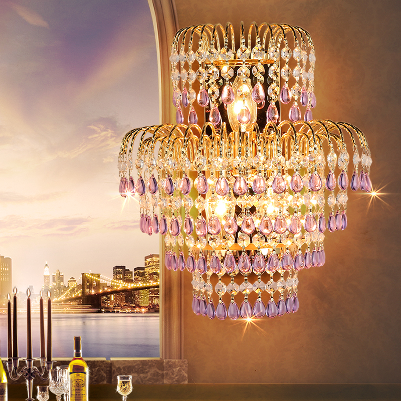 Living room LED crystal wall lamp European style lighting hotel villa staircase crystal wall lamp cafe bedroom bedside lights modern lamp trophy wall lamp wall lamp bed lighting bedside wall lamp