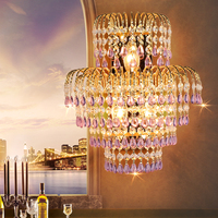 Living room Sconce crystal wall lamp European style lighting hotel villa staircase crystal wall lamp cafe bedroom bedside lights