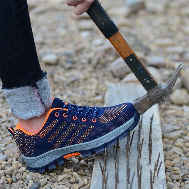 46 blue Biqueira Multa Punção Protecção Trabalho Size Homens Duráveis Prova Preto Do Para À Orange Dos Segurança vermelho azul esmagamento Sapatos Calçado Aço Anti De Plus Botas Zero 4wr7Yq4