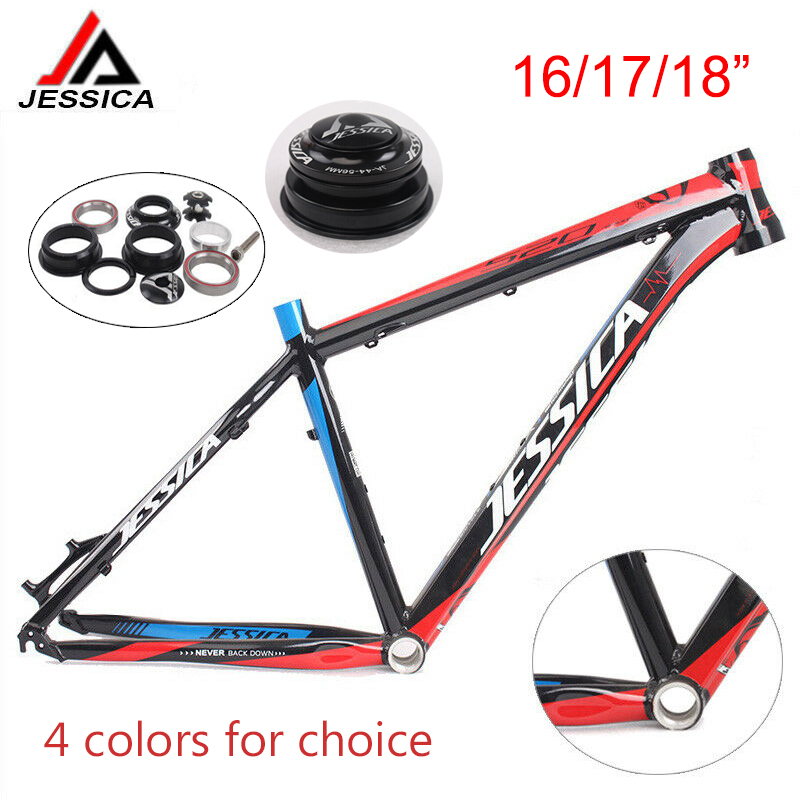 JESSICA 16/17/18 Inch MTB Frame Surper Light Mountain Bike Frame Aluminum Alloy Bicycle Frameset 44-56mm Bicycle Frame Headset