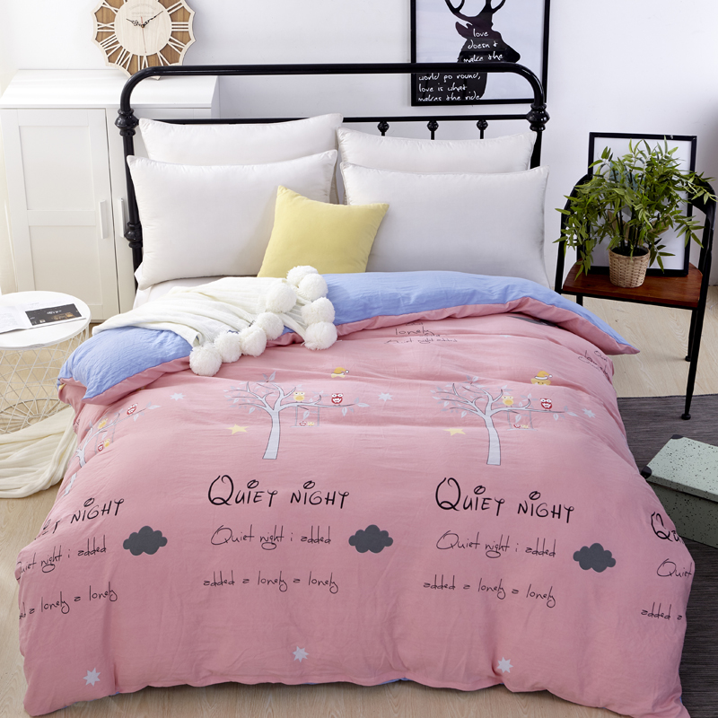 4pc 100% cotton pink beddingset duvet cover sheet pillowcase