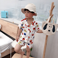 Celveroso Summer Children Pajamas cartoon Cotton Sleepwear Baby Pajamas Set For Boys Underwear Clothing Kids Suits Shirt+Shorts