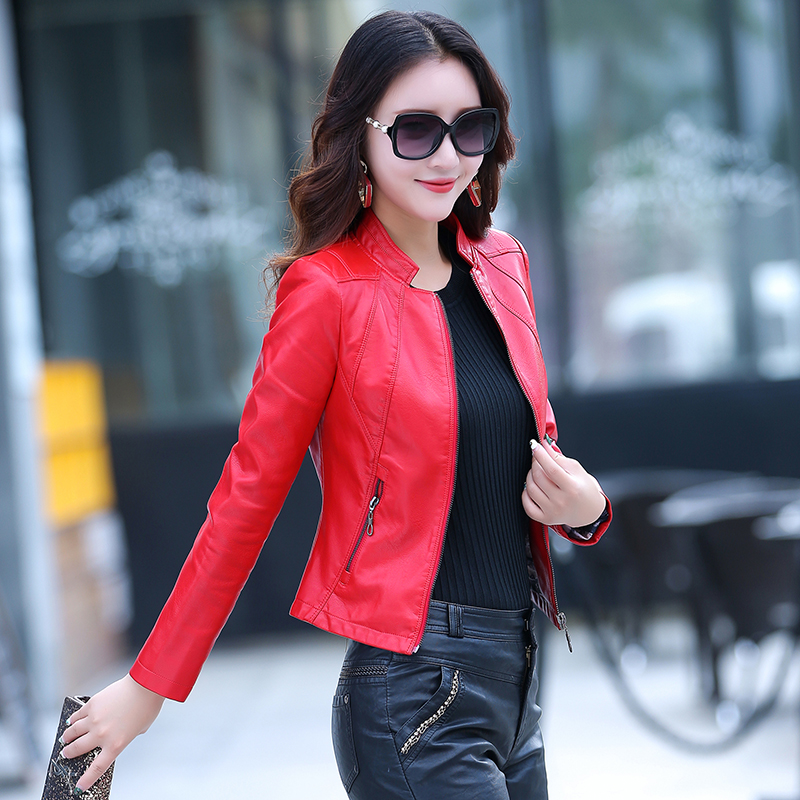 Free shipping real pic women lady female black wine yellow red soft sheepskin genuine leather short