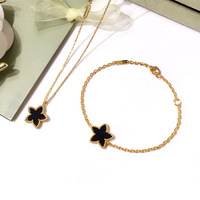Brand Wedding Jewelry For Women Gold Color lover Necklace Green Black Red Stone Mother Shell Pearl Star Necklace Bracelet