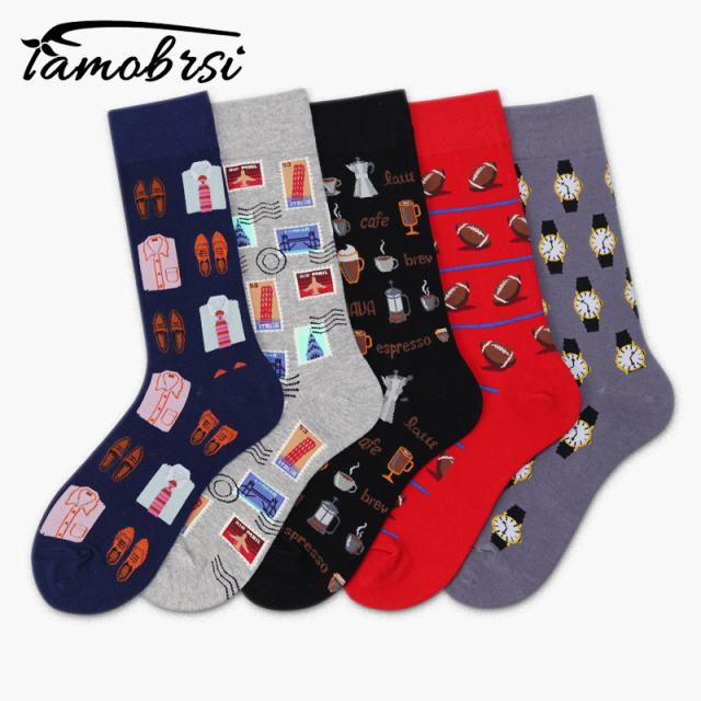 Watch Coffee Men's Clothing Stamp Rugby Football Socks Short Funny Cotton Male Socks Women Winter Men Unisex Happy Socks Female