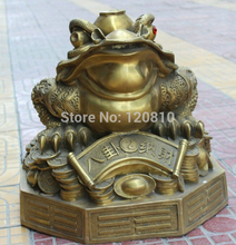 zhao003001++++19′ Chinese Fengshui Brass Golden Toad Money Wealth Yuanbao Coin Statue