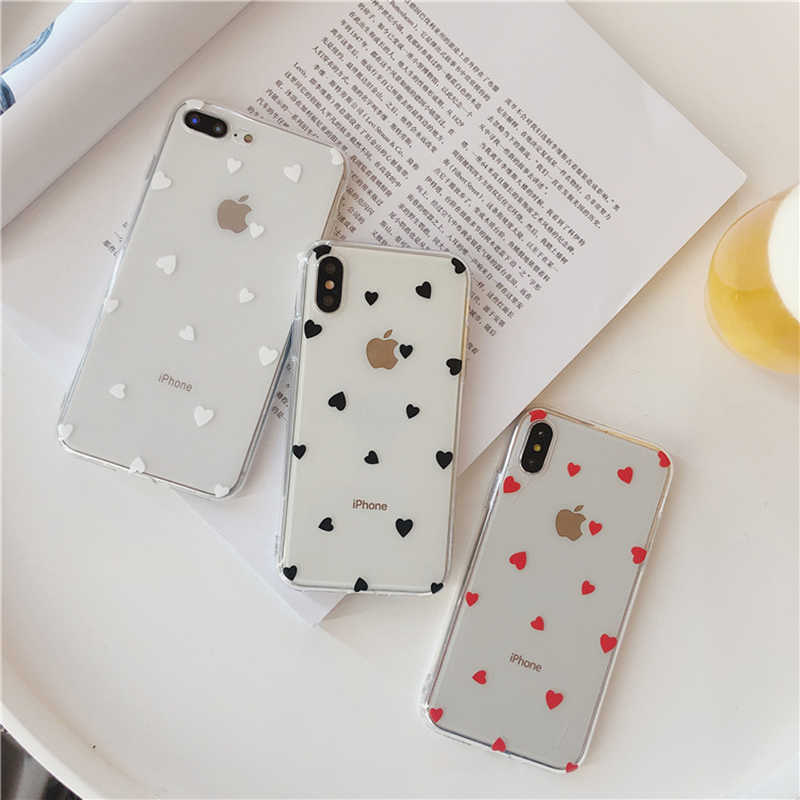 Love Pattern Cover Case For Iphone X XS Phone Case For Iphone X XS 6 6s 7 7plus 8 8plus Soft TPU Transparent Phone Case