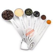 Las 6 unidades de acero inoxidable cuchara cuchara condimento condimentos cuchara hornear caja de medición de cuchara de cocina escala redonda