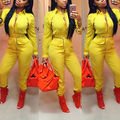 Sexy Fashion  Women  Casual   Jumpsuit  Romper Long Sleeve Zipper Bodycon Tracksuit 5 colors
