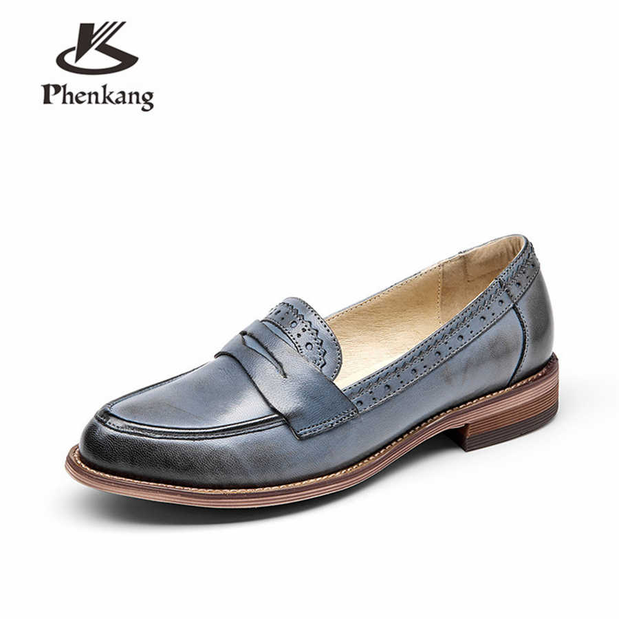 100% Da Cừu Thật Da Brogues Nhà Thiết Kế Phong Cách Vintage Đế Giày Handmade Giày Oxford Nữ Nâu Xám Đen Đỏ