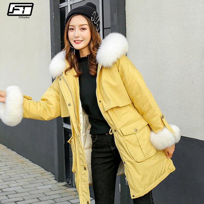 Fitaylor veste à capuche col en fourrure véritable hiver femmes blanc canard vers le bas Parkas femme mince chaud neige Long vers le bas doux manteau Outwear