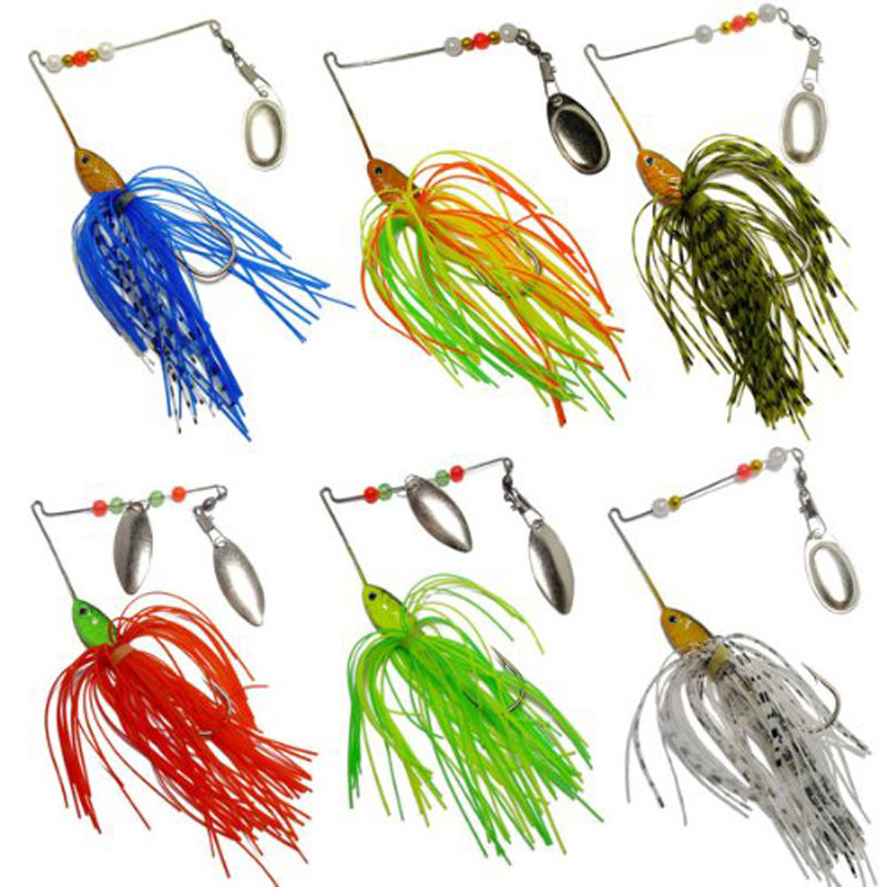 6pcs Fishing Hard Alloy Spinner Lure Spinnerbait Pike Bass life-like Bright colors to attract big fish fishing accessories #zk