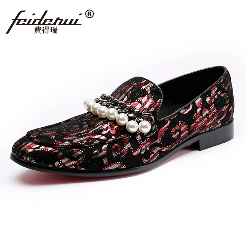 Plus Size Luxury Round Toe Slip on Pearls Man Moccasin Loafers Elegant Cow Suede Leather Wedding Party Men's Casual Shoes SL101 round toe suede slip on plimsolls