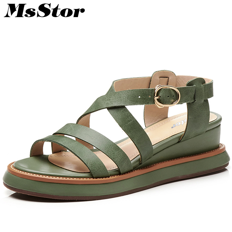 цена на MsStor Wedges Flat Sandals Metal Buckle Women Sandals Women Fashion Casual Shoes 2018 Summer Thick Bottom Gladiator Women Sandal