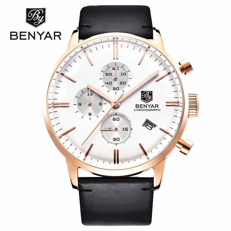 Mote klokker Menn Chronograph Sports Dive 30m Ekte Leather Quartz Watch Luksus Brand Benyar Relogio Masculino