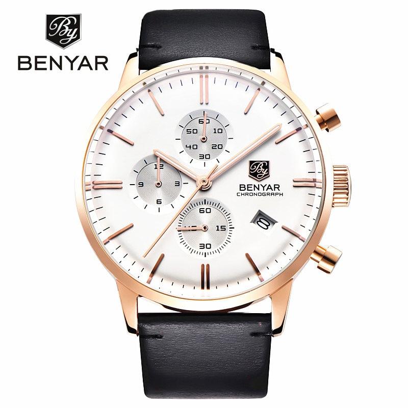Relojes de moda para hombre cronógrafo deportivo buceo 30 m reloj de cuarzo de cuero genuino de marca de lujo Benyar reloj Masculino