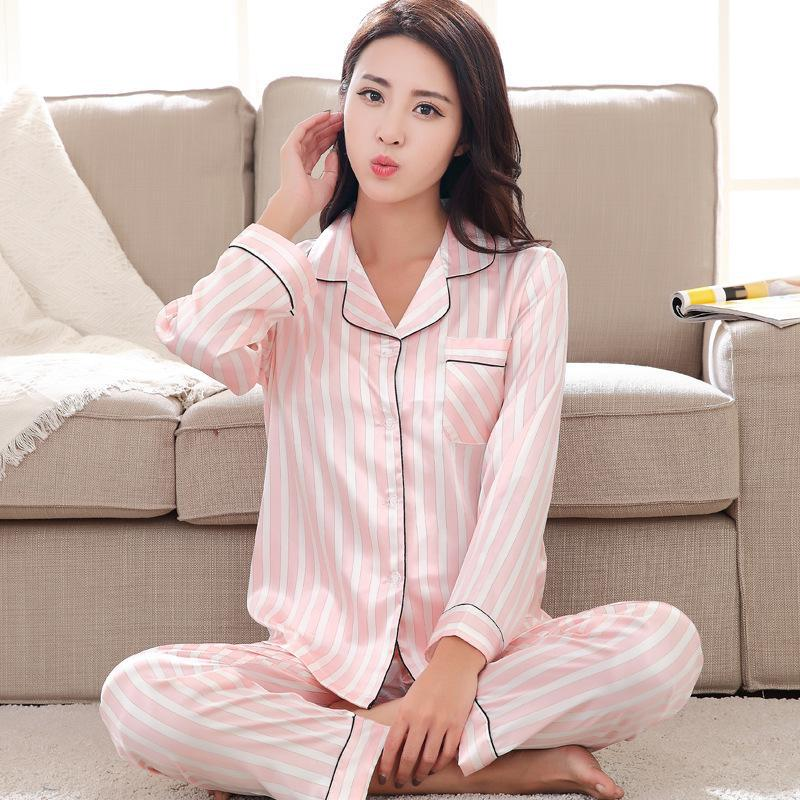 Spring Pink Ladies Sweet   Pajamas     Set   Satin Long Sleeve 2PCS Shirt&Pants Home Wear Stripe Casual Nightwear Suit Lingerie M-XXL