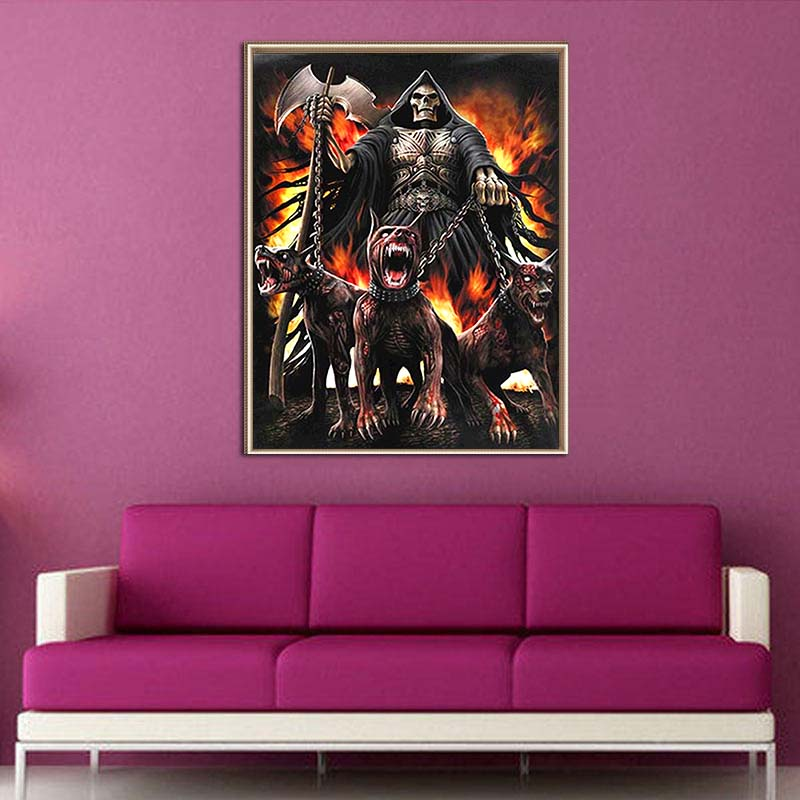 Full Drill 5D Diamond painting death and Hellhound paintings kits round resin mosaic art diamond embroidery sale home Decor gift in Diamond Painting Cross Stitch from Home Garden