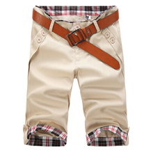 2017 NEW shorts two buckle pocket fashion slim men's shorts casual comfort knee length 7 Colors