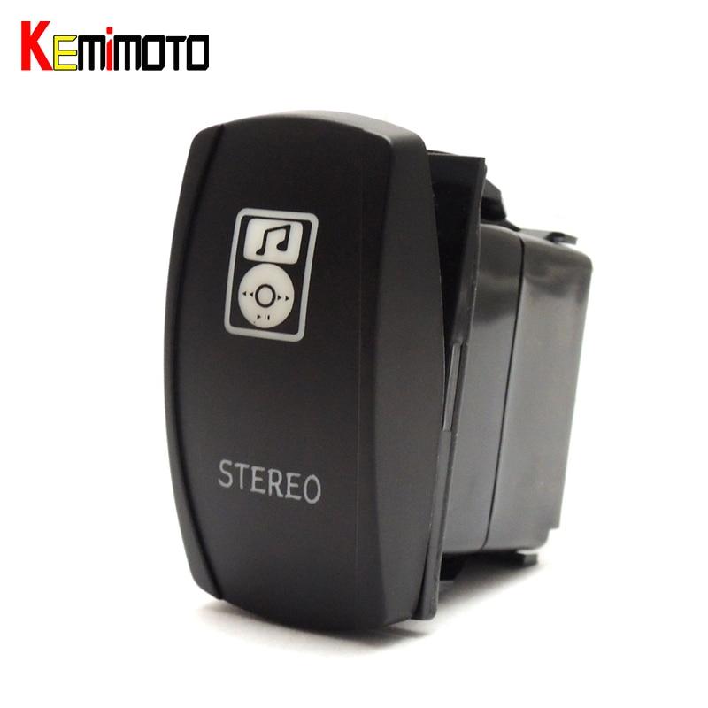KEMiMOTO For Polaris RZR XP 4 1000 900 Commander UTV LED Blue Light Stereo Music LED light Bar Front Light Winch 5 Pin Switch