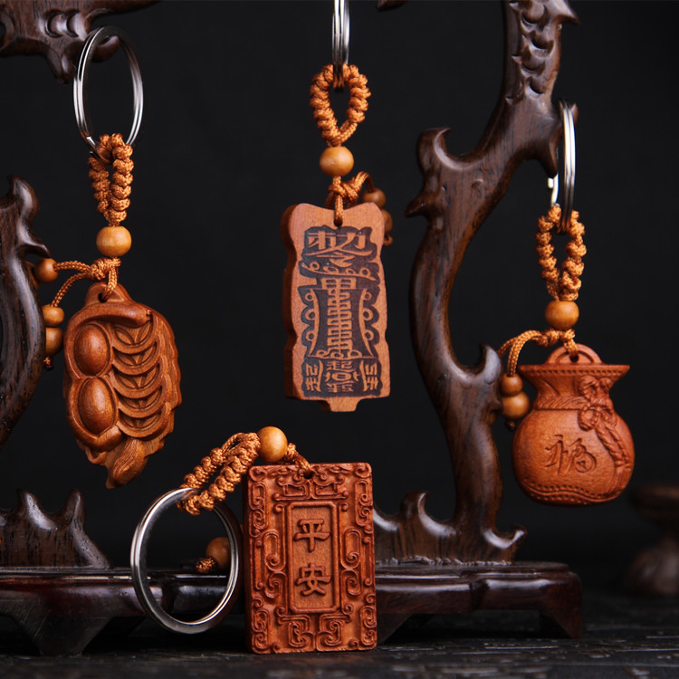 lucky  frog New Classic Fine Wood Carving keychain keyring