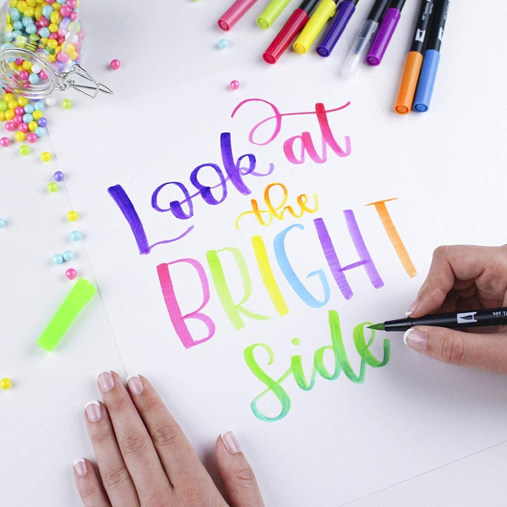 Tombow ABT double pinceau stylo marqueurs d'art calligraphie dessin stylo ensemble lumineux 10-Pack brosse pliable pointe Fine aquarelle lettrage - 2