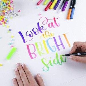 Image 2 - Tombow abt escova dupla caneta arte marcadores caligrafia desenho caneta conjunto brilhante 10 pacote blendable escova ponta fina aguarela rotulação