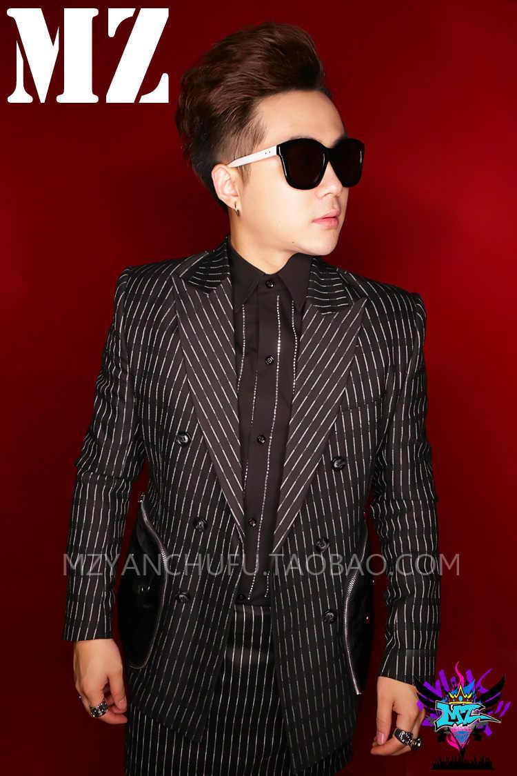 S-5XL 2019 男性スリム服スリム GD ブレザーヘアスタイリストファスナーポケットスーツプラスサイズのブレザースーツ歌手のパフォーマンス衣装