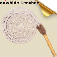 Bull Leather Whip Bullwhip - Real Cowhide Leather 6 - 8 Foot 08 Plait Handmade Martial Arts Horse Whips Wooden Handle Bat Hallow(China)