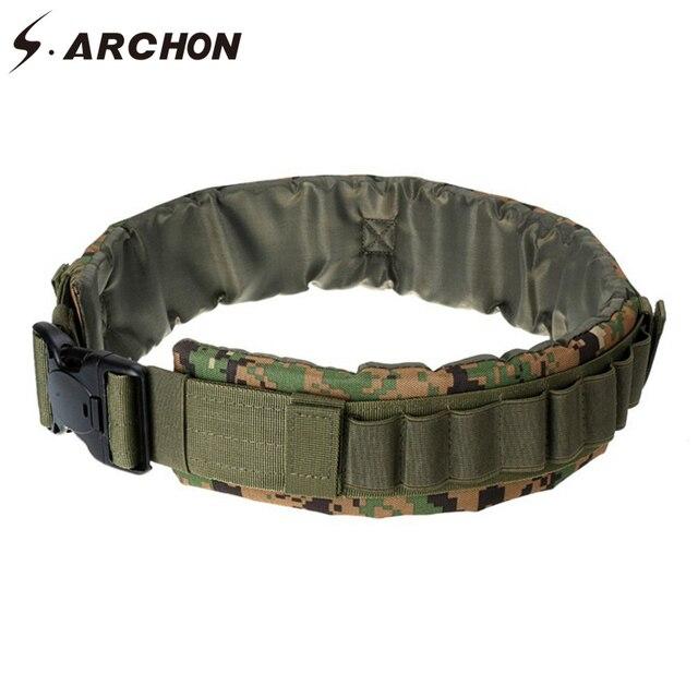 7f59d347f4 S.ARCHON Camouflage Airsoft Soldier Tactical Combat Belt Men Paintball Army  Military Bullet Shoot Plastic Buckle Detachable Belt