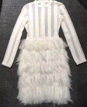 21bc3aa6cb0cfa 2018 nieuwe collectie zwart wit Veren jurk Bodycon vrouwen sexy lange mouwen  O-hals celebrity Party vestidos bandage jurken