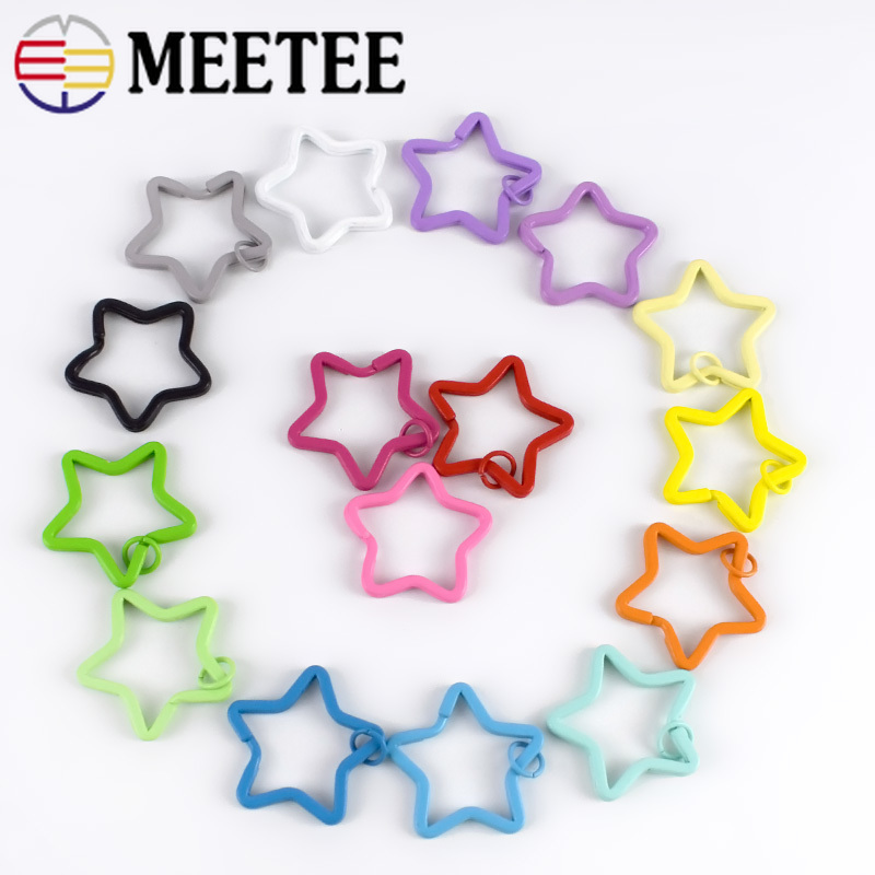 20pcs Meetee 35mm Candy Color Keychain Circle Rings Buckles Star Shape Key Holder Split Rings DIY Keychain Decor Accessories