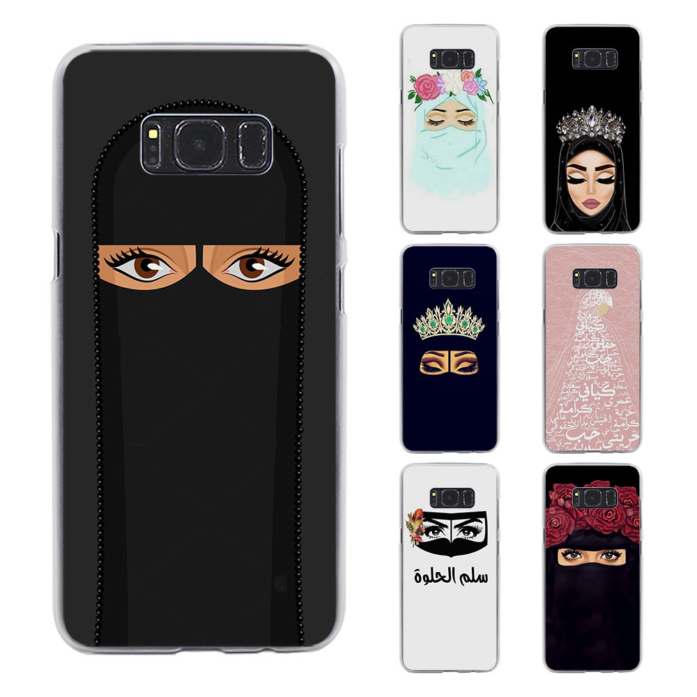 BiNFUL Arab Woman With Niqab Face eye style clear hard phone Case cover for Samsung Galaxy S8 S8 Plus S6 S7 S5Note5 Note8