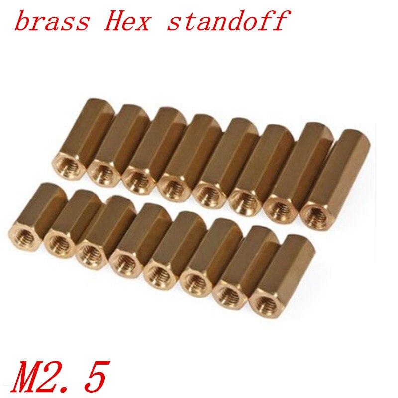 50pcs M2.5*L L=3 TO 25mm 2.5mm female Female Brass Hex Standoff Spacer