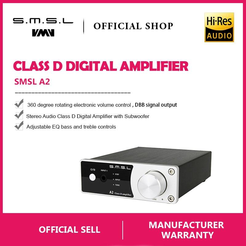 New SMSL A2 Audio Digitale Amplificatore Home Theater, supporto 2 Ingressi RCA e 3.5mm Per Cuffie Martinetti di Ingresso