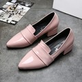 Hot New 2017 Spring Thick with In Pointed Women Shoes PU Leather Party with High Heels Work Shoes Women Fashion Casual Shoes