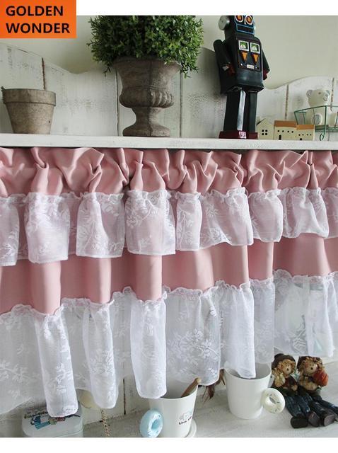 1511 Rose Moitié Rideau Dentelle Café Rideaux Rideaux De La Cuisine Coton Tissu Décor à La Maison Rideau Pour Fenêtre Porte Dans Rideaux De