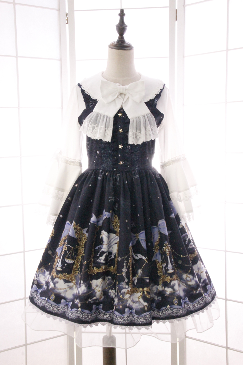 Buy Cheap New Summer Sweet Mori Girl Lolita Dress Constellation Pegasus Agaric Lotus Leaf Printed JSK Dress with Bow