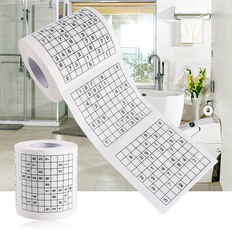 1 Roll 2 Ply Novelty Funny Number Sudoku Printed WC Bath Funny Soft Toilet Paper Tissue Bathroom Supplies Gift 1