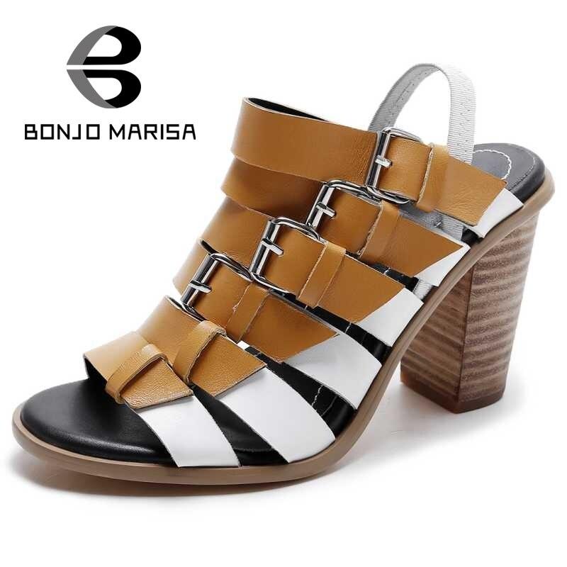 ФОТО Gladiator Buckle Summer Shoes For Woman Wood Strip Chuunky High Heels Open Toe Platform Sandals 2017