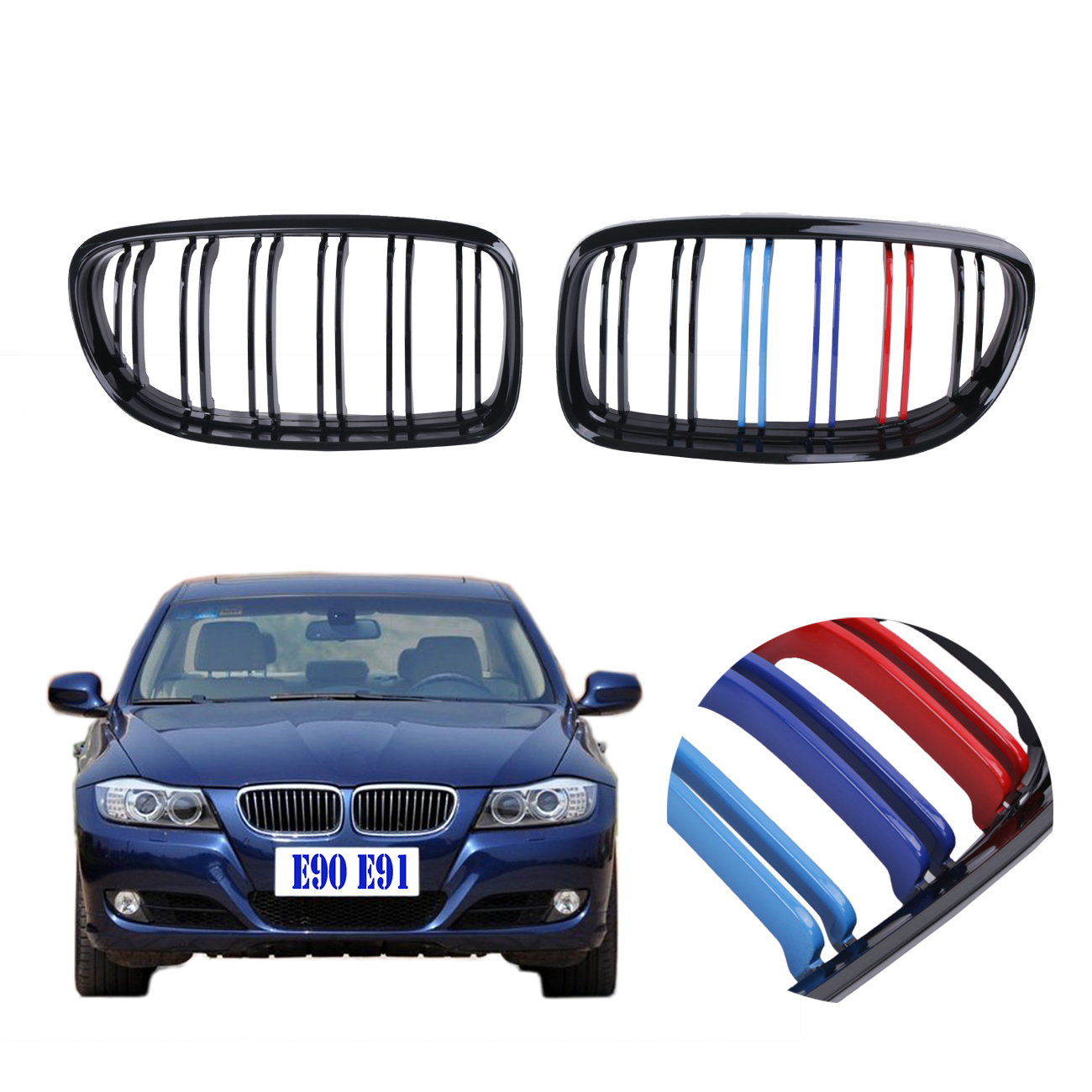 For BMW E90 E91 LCI 318i 320i 320d 328i 335i 2009 2010 2011 Glossy Black M-color Front Kidney Grilles Double line Grill #P461 bmw 318 в москве