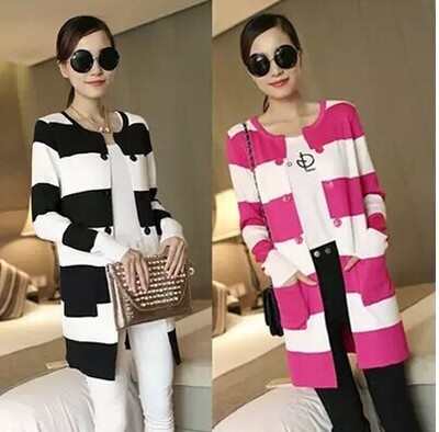 2017 New Striped Knitted Cardigans Sweater for Women Long Sleeve ...