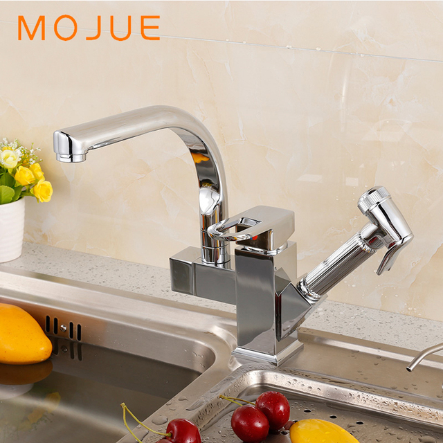 mojue kitchen faucets pull out sprayer sink faucet single handle
