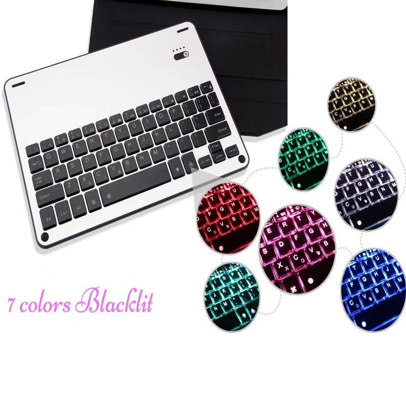 7 colors LED Backlit backlight tablet Cover Wireless Bluetooth Aluminum Keyboard Case for iPad 9.7 inch 2017 A1822 A1823 wireless bluetooth keyboard case for ipad pro 10 5 inch 2017 led 7 colors backlit aluminum alloy folio back hard stand cover