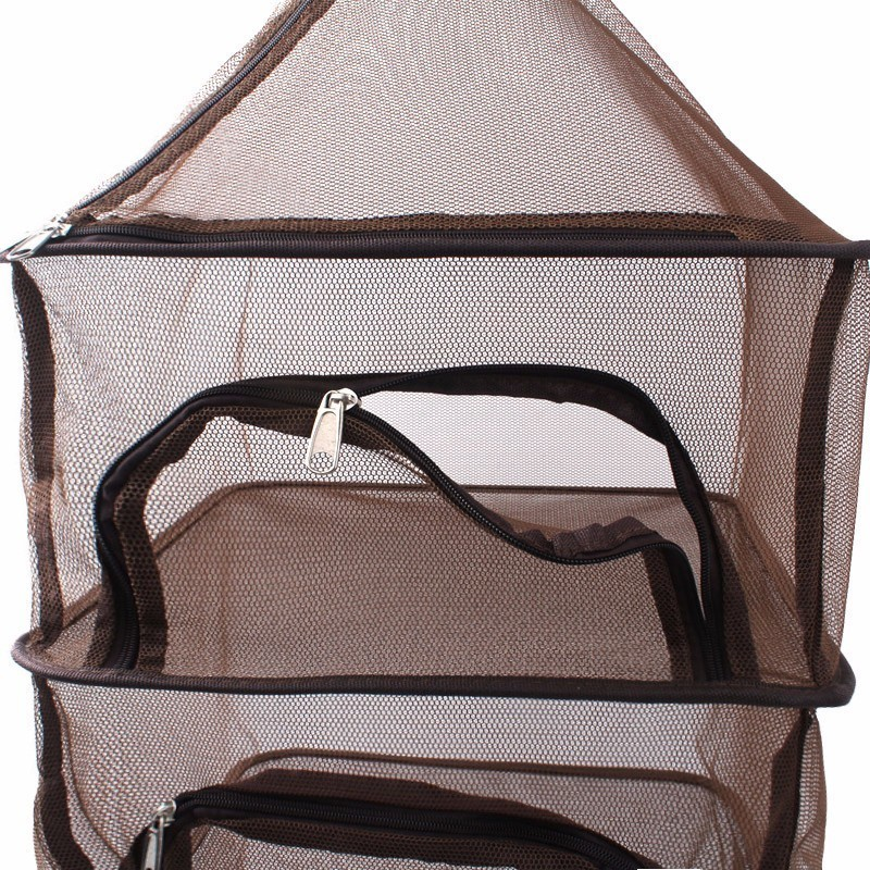 Image 3 - Camping Dry Net Storage Basket Shelf  Portable Folding 4 Layer Hanging Mesh Foods Dish Outdoor Campping BBQ Tableware Picnic Bag-in Picnic Bags from Sports & Entertainment