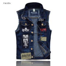 FALIZA 2018 Men's Patches Design Jeans Vest Ripped Denim Waistcoat Men Denim Vest Man Sleeveless Jeans Vest Frayed MJ-101