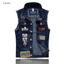 FALIZA 2018 Men's Patches Design Jeans Vest Ripped Denim Waistcoat Men Denim Vest Man Sleeveless Jeans Vest Frayed MJ-101