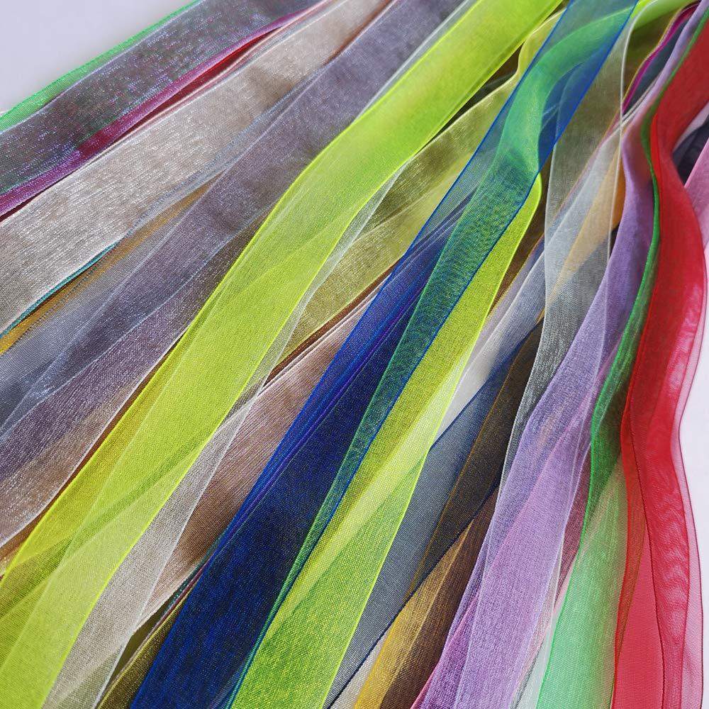 suoja 20 yards/pack Mix Random delivery  2cm beautiful silk Organza Wedding Decoration ribbon crafts gift packaging belt
